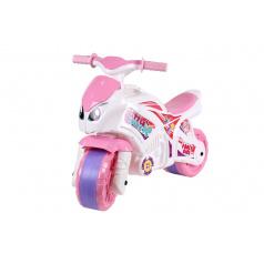 Teddies Odrážedlo motorka růžovo-bílá plast v sáčku 35x53x74cm 24m+