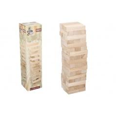 Teddies Hra Jenga věž maxi dřevo 60ks dřevěných dílků hlavolam v krabici 13x51x13cm