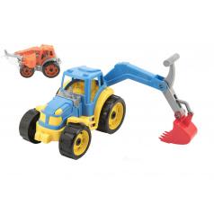 Teddies Traktor sa lyžicou plast 16x24cm 2 farby v sieťke