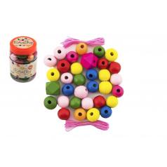 Teddies Korálky dřevěné barevné MAXI s gumičkami 54ks v malé plastové dóze 7x11cm