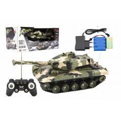 Teddies Tank RC plast 27cm 27MHz na baterie+dobíjecí pack se zvukem v krabici 37x17x19cm