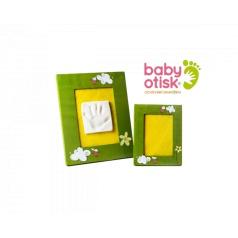 BABY OTISK -Sada pro otisk s ručně malovaným rámem a rámečkem na foto – zelená