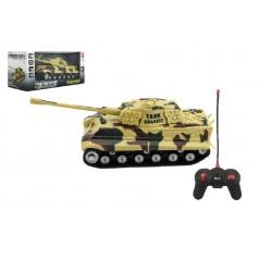 Teddies Tank RC plast 25cm na baterie se zvukem se světlem 2 druhy v krabici 28x13x12cm