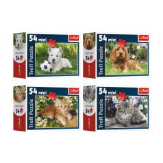 Trefl Minipuzzle Zvířátka 54 dílků 4 druhy v krabičce 9x6,5x3,5cm 40ks v boxu