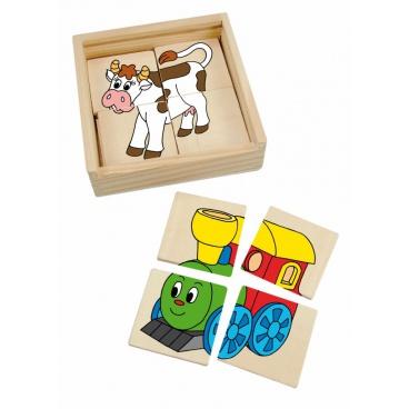 """Woody Minipuzzle """"Mašinka"""" v dř. krabičce"""
