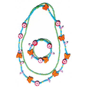 Woody Souprava dvojitý náhrdelník a náramek - Motýlci a květiny