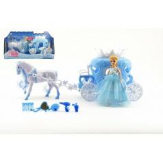 Teddies Kůň s kočárem + panenka s doplňky plast 40cm v krabici