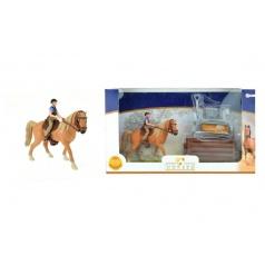 Teddies Sada kôň + džokej s doplnkami farma plast v krabici 34x19x5cm