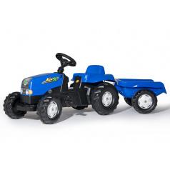 Rollytoys Šlapací traktor Rolly Kid s vlečkou modrý