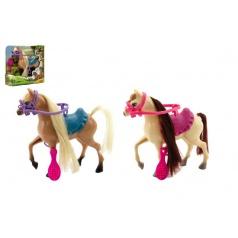 Teddies Kůň s doplňky plast 16cm asst 2 barvy v krabici 17x17x5cm