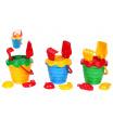 Teddies Sada na písek plast kbelík se sítkem 15x13cm, lopatka, hrabičky, 2 bábovky 4 barvy v síťce 12m+