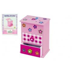 Skříňka šperkovnice růžová 2 zásuvky odklápěcí vrch police dřevo 12,2x8,16x8,7cm v krabici