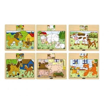 "Woody Puzzle na desce ""Mašinka"" - zvířata s mláďaty"