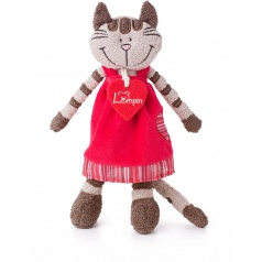 Lumpin plyš Kočička Angelique v jahodových šatech střední 23 cm