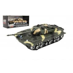 Teddies Tank plast 27cm na setrvačník na baterie se světlem se zvukem 2 barvy v krabici 29x13x12cm