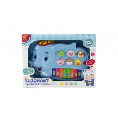 Teddies Piánko slon so zvieratkami plast 28cm na batérie so zvukom sa svetlom v krabici 32x23x6cm