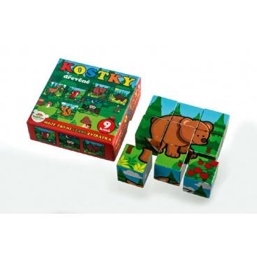 Teddies Kostky kubus dřevěné Moje první zvířátka lesní dřevo 9x9x3cm 9ks v krab.11x11x6cm od 12 měsíců MPZ